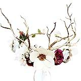 SOLUSTRE Venado Flor Diadema Floral Aro de Pelo Navidad Tocado Cuerno Fotografía...