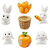 inodiref 7 Piezas Conejos Accesorios de Jardín de Hada, Mini Figuras de Conejito de...