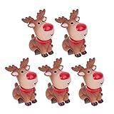 Happyyami 5 Piezas Navidad Mini Reno Estatua de Dibujos Animados Ciervo Alce Estatuillas...