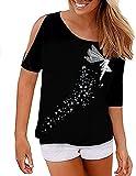 BUOYDM Mujer Casual Camiseta Manga Corta Suelto T-Shirt Tops Negro M