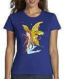 latostadora - Camiseta Hada Sentada para Mujer Azul Royal S