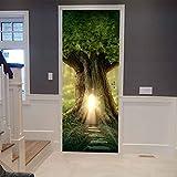 BARFPY 3D Etiqueta de Puerta 脕rbol grande del bosque de cuento de hadas para la puerta de...