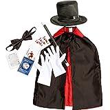 Juvale Mago de Vestuario y Accesorios para niños (7 Piezas) - Incluye Plegable Sombrero, Cabo, Varita mágica, Pajarita, Guantes Blancos y Naipes