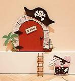Puerta ratoncito Pérez MADERA ROJA PIRATA QUE SE ABRE + escalera + ratón guardadientes.