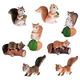 Huochong - Figuras miniatura de ardilla, 8 unidades, decoración de jardín de musgo