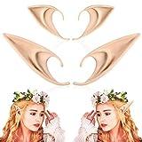 2 pares de orejas de elfo – Estilo medio y largo Cosplay hada Pixie elf Orejas suaves...