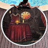 Toalla de Playa Redonda Alfombrilla gótica con borlas Gruesas artesanales Habitación de...