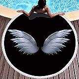 GermYan Toalla de Playa Redonda de Microfibra de Verano con alas de Hadas Circulares con...