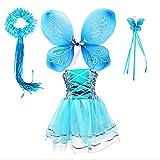 Tante Tina Disfraz de hada de mariposa para niña, 4 piezas, con vestido de tul, alas,...