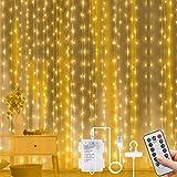 Vicloon Luces de Cadena de Cortina USB, 3m*3m 300 LED Cortina de Luces Navidad, 8 Modos de...