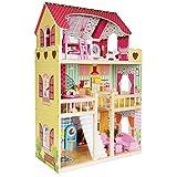 boppi - Casa De Muñecas De Madera Para Niñas Con 3 Pisos Y 17 Accesorios O Muebles Para...