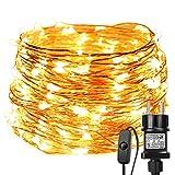 LE Guirnalda de luces LED 22m 200 LED Blanco c谩lido Alambre de cobre impermeable,...