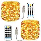 TOPYIYI Guirnalda Luces, [2 Pack] 120 LED 12M Cadena de Luces USB Impermeable IP65, Luces...