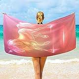 Toalla De Playa Microfibra,Hada Unicornio Sparkle Altamente Absorbente Compacto Ligero Y...