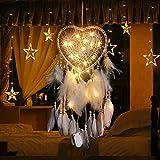RAILONCH Corazón atrapasueños estilo bohemio hecho a mano con luz LED, decoración...