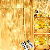 Cortina de Luces LED, 3m x 2m Luces de Cadena de Cortina, 200 LED Luces de Hadas, 8 Modos...