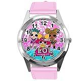 Reloj de cuarzo con correa de cuero real rosa redondo para los aficionados a las muñecas