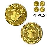 IVLWE Moneda de hada de dientes [4 unidades] moneda dorada para niños perdidos de dientes...