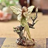Verde Flor Figurita De Hada, O Sentado En El Árbol Pequeña Estatua Resina Estatuilla...