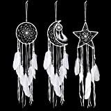 Jetec 3 Piezas Atrapasueños con Diseño de Luna Sol Estrella Tradicional Hecho a Mano...