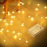 Guirnalda Luces Pilas, Romwish 12M 120 LED Luces de Cadena de Guirnaldas Decoracion Cobre...