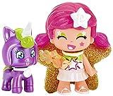 Pinypon- Figura estrella y mascota unicornio, colores rosa y lila, efecto perlado (Famosa...