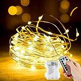 Oreunik Guirnalda Luces Pilas,2x 120LED Luces LED Pilas, Alambre Cobre Luces LED...