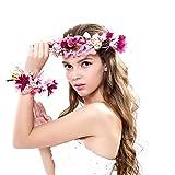 Ever Fairy® Diadema de flores para mujer y niña, conjunto para boda Morado Morado (...