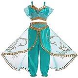 Monissy Niña Aladdin Princesa Jasmine Disfraz Tops Pantalones Manga Corta Traje Cosplay...