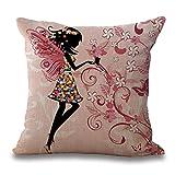 Topker Flores Chica de Hadas con Pillow Covers,Girl el Caballo de ala Ropa de Cama de...