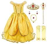 JerrisApparel Niña Princesa Belle Disfraz Tul Fiesta Trajes Vestido (3 años, Amarillo 1...