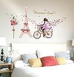 LuckES Eiffel Bicicleta Chica Decoración 3D Decor Adhesivos Mujeres Pegatina de pared...