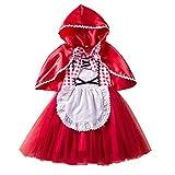 IMEKIS Vestido de niña de Caperucita Roja, disfraz de princesa, cosplay, vestido de...