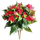 CCLLA 2 Piezas de arbustos Artificiales Impatiens Flores de Seda vegetación Interior...