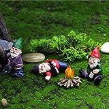MUAMAX Juego de gnomos de jardín en miniatura de 3 figuras de gnomos de hadas para...