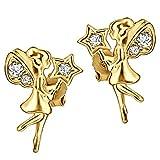 Clever Schmuck Pendientes de oro para niña con pequeñas hadas, ángel, 10 x 7 mm, varias...