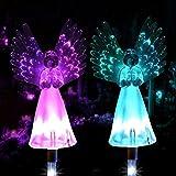 Konesky Lámparas Solar del ángel, 2 Paquetes Exterior Angel Path Estaca Luces Coloridas...