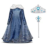 URAQT Disfraz de Elsa, Vestido de Princesa Elsa, Vestido de Copo de Nieve de Encaje Fino...