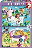 Educa - Unicornios y Hadas 2 Puzzles de 20 Piezas, Multicolor (18064)