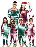 Aibrou Pijamas de Navidad Familia Conjunto 100% Algodón Raya Ropa de Dormir Otoño...