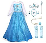 JerrisApparel Fiesta Maxi Vestido de Princesa niña Disfraz Cosplay con Diamante (120cm,...