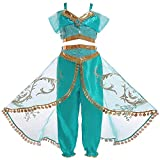 Mooler Disfraces de Princesa Jasmine para niñas Disfraces de Fiesta de Halloween