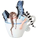 Figura de hada durmiendo en taza con texto en inglés 'I Need Coffee Fairy Sleepin in Cup'...