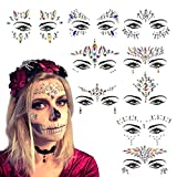 Tatuaje Cristal Temporal Carnaval KATOOM 9pcs Joyas Pegatinas Faciales Gemas,Cara...