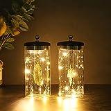 JHY DESIGN Juego de 2 lámparas decorativas colgantes de hojas Lámpara de batería...
