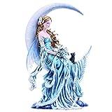Nemesis Now - Figura Decorativa (24 cm, 36 cm), diseño de la Luna del Viento, Color Azul
