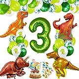 Decoracion Cumpleaños Dinosaurios, Globos de Cumpleaños Dinosaurios, Globo Numero 3...