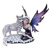 Nemesis Now Winter Consort. C3221H7 - Figura decorativa (45,5 cm), diseño de lobo y hada