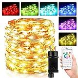 Guirnalda Luces Multicolor, 10M 100 LED Luces de Hadas con Control Remoto, 16 Colores 4...