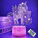 Lámpara unicornio 3d, CooPark hada LED Óptico Holograma Luz de noche 16 colores cambian...